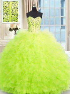 Charming Yellow Green Tulle Lace Up Vestidos de Quinceanera Sleeveless Floor Length Beading and Ruffles