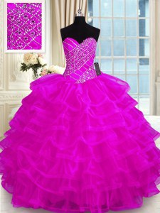 Sleeveless Lace Up Floor Length Beading and Ruffled Layers Quinceanera Gown