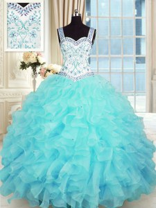 New Style Sleeveless Floor Length Beading and Appliques and Ruffles Lace Up Vestidos de Quinceanera with Aqua Blue