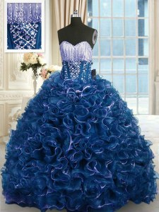 Designer Organza Sweetheart Sleeveless Brush Train Lace Up Beading and Ruffles Quinceanera Dresses in Navy Blue
