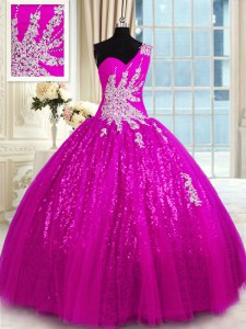 One Shoulder Sleeveless Lace Up Quince Ball Gowns Fuchsia Lace
