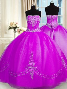 Edgy Floor Length Purple Quince Ball Gowns Organza Sleeveless Beading and Embroidery