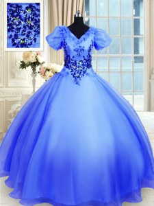 V-neck Short Sleeves 15 Quinceanera Dress Floor Length Appliques Blue Organza