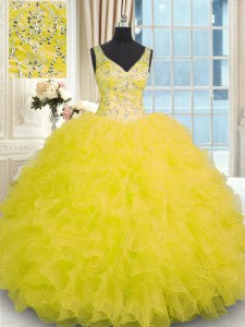 Sleeveless Floor Length Beading and Ruffles Zipper Quinceanera Gowns with Yellow