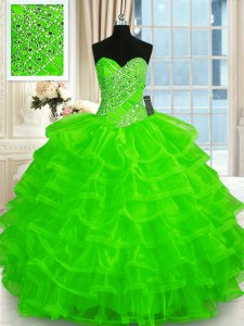 Organza Lace Up Sweetheart Sleeveless Floor Length Sweet 16 Dresses Beading and Ruffled Layers