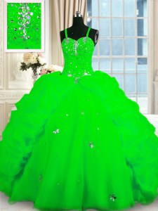 Cute Pick Ups Ball Gowns Quinceanera Gown Spaghetti Straps Organza Sleeveless Floor Length Lace Up