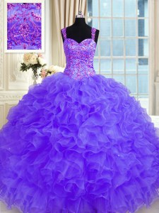 Modern Straps Long Sleeves Quinceanera Gowns Floor Length Beading and Embroidery and Ruffles Purple Organza