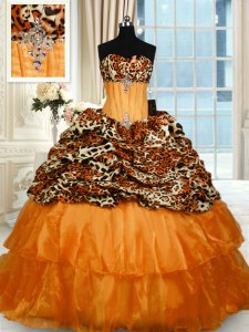 Deluxe Printed Sleeveless Beading and Ruffled Layers Lace Up 15th Birthday Dress with Orange Sweep Train