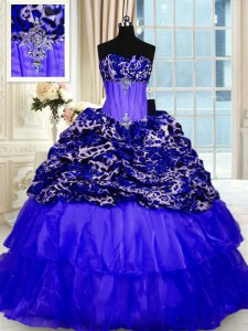 Custom Design Printed Sleeveless Beading and Ruffled Layers and Sequins Lace Up Quinceanera Dress with Royal Blue Sweep Train