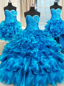 Delicate Four Piece Floor Length Blue Sweet 16 Quinceanera Dress Sweetheart Sleeveless Lace Up