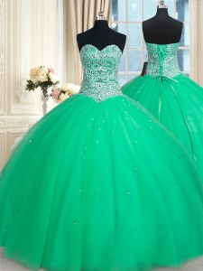 Charming Sleeveless Floor Length Beading and Sequins Lace Up 15 Quinceanera Dress with Green