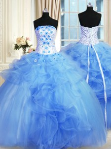 Pick Ups Floor Length Ball Gowns Sleeveless Blue Quinceanera Dresses Lace Up