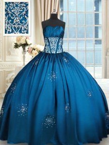 Amazing Strapless Sleeveless Taffeta Quinceanera Gowns Beading and Appliques and Ruching Lace Up