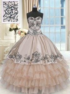 Latest Champagne Organza and Taffeta Lace Up Quinceanera Dresses Sleeveless Floor Length Beading and Embroidery and Ruffled Layers