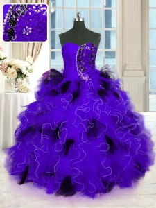 Sophisticated Sleeveless Floor Length Beading and Ruffles Lace Up 15 Quinceanera Dress with Black And Purple