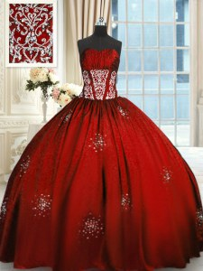 Sophisticated Wine Red Ball Gowns Beading and Appliques and Ruching Quinceanera Gowns Lace Up Taffeta Sleeveless Floor Length