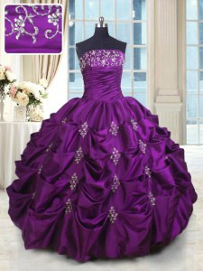 Customized Sleeveless Taffeta Floor Length Lace Up Sweet 16 Dresses in Eggplant Purple with Beading and Appliques and Embroidery and Pick Ups