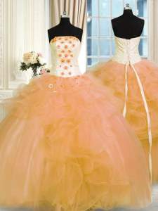 Stunning Hand Made Flower Quinceanera Gown Gold Lace Up Sleeveless Floor Length