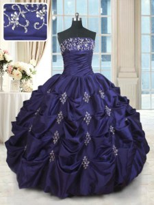 Dark Purple Quinceanera Dress Military Ball and Sweet 16 and Quinceanera and For with Beading and Appliques and Embroidery and Pick Ups Strapless Sleeveless Lace Up