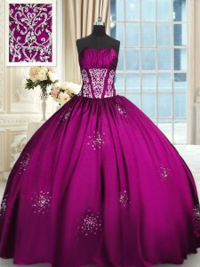 Nice Sleeveless Beading and Appliques and Ruching Lace Up Ball Gown Prom Dress