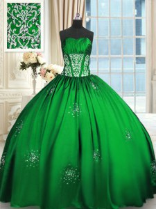 New Style Lace Up Strapless Beading and Appliques and Ruching Sweet 16 Quinceanera Dress Taffeta Sleeveless