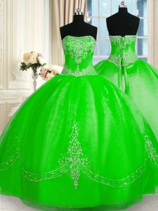 Free and Easy Sleeveless Beading and Embroidery Floor Length 15 Quinceanera Dress