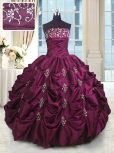 Sumptuous Sleeveless Taffeta Floor Length Lace Up Ball Gown Prom Dress in Burgundy with Beading and Appliques and Embroidery and Pick Ups