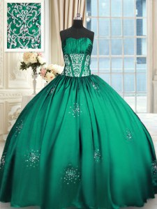 Modern Teal Ball Gowns Beading and Appliques and Ruching Sweet 16 Dress Lace Up Taffeta Sleeveless Floor Length