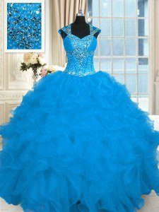 Stylish Floor Length Lace Up 15 Quinceanera Dress Aqua Blue for Military Ball and Sweet 16 and Quinceanera with Beading and Ruffles
