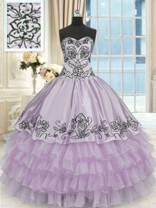 Nice Ruffled Floor Length Ball Gowns Sleeveless Lavender 15th Birthday Dress Lace Up