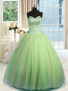 Superior Yellow Green Sleeveless Floor Length Beading and Ruching Lace Up Sweet 16 Dress