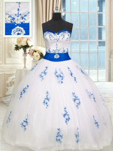 White Ball Gowns Tulle Sweetheart Sleeveless Appliques and Belt Floor Length Lace Up Quince Ball Gowns