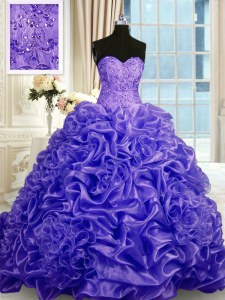 Purple Ball Gowns Organza Sweetheart Sleeveless Beading and Pick Ups Lace Up Quinceanera Gown Sweep Train