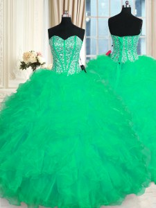 Trendy Turquoise Ball Gowns Beading and Ruffles Quinceanera Dresses Lace Up Organza Sleeveless Floor Length