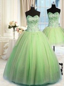 Designer Three Piece Tulle Sleeveless Floor Length Sweet 16 Dresses and Beading