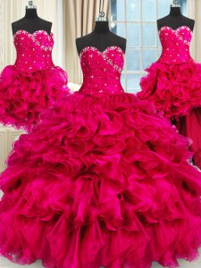 Sexy Four Piece Hot Pink Three Pieces Sweetheart Sleeveless Organza Floor Length Lace Up Beading and Ruffles and Ruching Quinceanera Dress