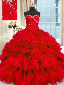 Charming Red Sleeveless Floor Length Beading and Ruffles Lace Up Quince Ball Gowns
