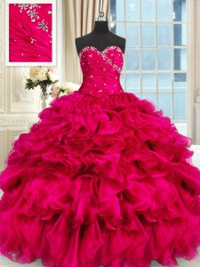 Hot Selling Hot Pink Organza Lace Up Sweet 16 Quinceanera Dress Sleeveless Floor Length Beading and Ruffles