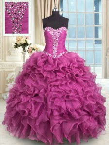 Rose Pink Sleeveless Organza Lace Up Vestidos de Quinceanera for Military Ball and Sweet 16 and Quinceanera