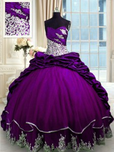 Purple Taffeta Lace Up 15th Birthday Dress Sleeveless With Brush Train Beading and Appliques and Pick Ups