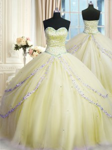 With Train Lace Up Quinceanera Dresses Light Yellow for Military Ball and Sweet 16 and Quinceanera with Beading and Appliques Court Train