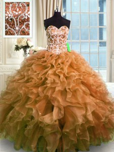 Traditional Sleeveless Beading and Ruffles Lace Up Quince Ball Gowns