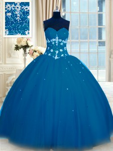 Modest Navy Blue Ball Gowns Tulle Sweetheart Sleeveless Appliques Floor Length Lace Up Quinceanera Dress