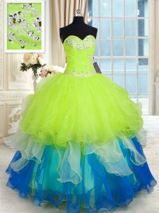 Multi-color Organza Lace Up Sweetheart Sleeveless Floor Length Sweet 16 Quinceanera Dress Beading and Ruffles