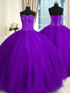Purple Lace Up Sweetheart Appliques 15th Birthday Dress Tulle Sleeveless