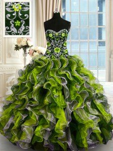 Luxury Multi-color Sleeveless Floor Length Beading and Ruffles Lace Up 15 Quinceanera Dress
