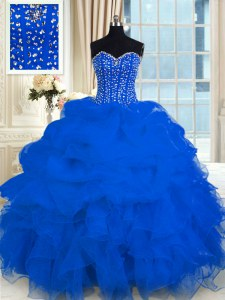 Colorful Royal Blue Sleeveless Beading and Ruffles Floor Length Quinceanera Dresses
