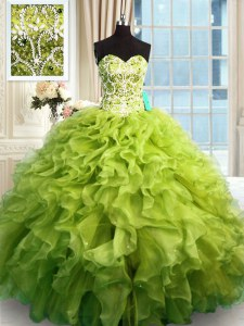 Extravagant Olive Green Lace Up 15 Quinceanera Dress Beading and Ruffles Sleeveless Floor Length