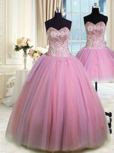Suitable Three Piece Lavender Ball Gowns Tulle Sweetheart Sleeveless Beading Floor Length Lace Up Sweet 16 Dresses