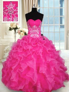 Extravagant Hot Pink Sleeveless Beading and Appliques and Ruffles Floor Length Quinceanera Gowns